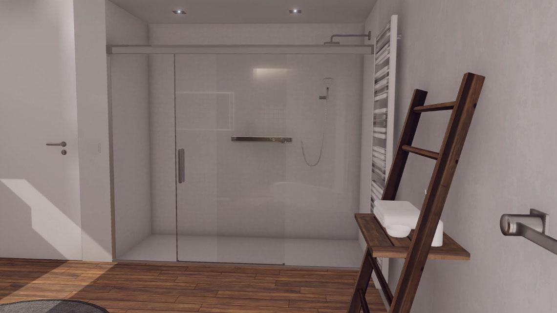 Blick auf die verglaste VR Regendusche. Virtual Reality aus Leipzig.