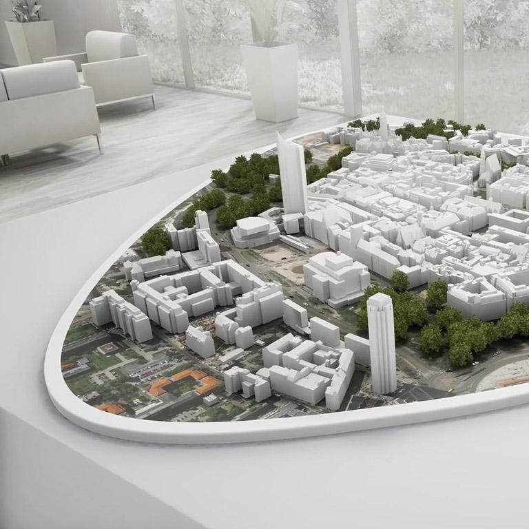 Rendering der Leipziger Innenstadt, für die Virtual Reality Version der IRL App aus der Ansicht einer Drohne.