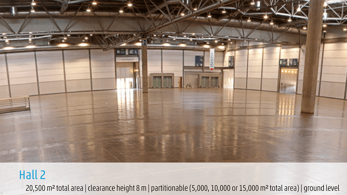 360 Grad Video der Leipziger Messe Halle 2. Ausschnitt aus der Augmented Reality App Trade Fair AR.