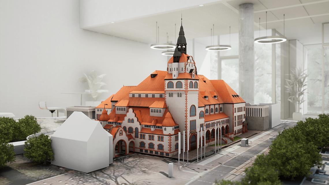 Gerenderte VR Version des Augmented Reality Modells der Kongresshalle am Zoo in Leipzig in Großaufnahme.