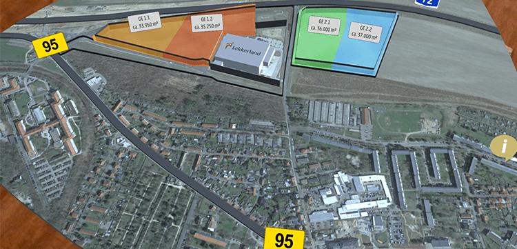 Gewerbegebiet in Borna in der AR Ansicht der Invest Region Leipzig App.