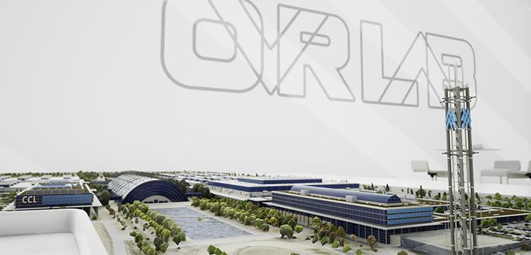 Seitenansicht des Rendermodells der Leipziger Messe Virtual Realty Version.