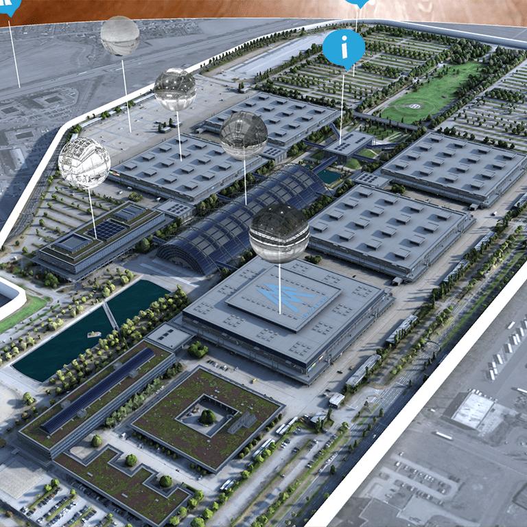 Vogelansicht der Leipziger Messe, innerhalt der Trade Fair Augmented Reality App auf einem iPad Pro