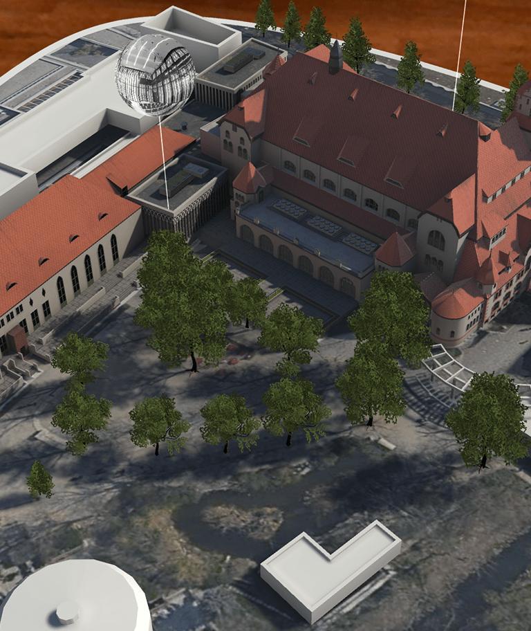 Augmented Reality Modell der Kongresshalle am Zoo in Leipzig, auf einem iPad Pro mit Marker.